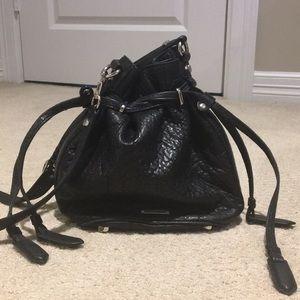 Rebecca Minkoff black leather bucket bag